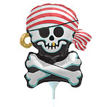 "Jolly Roger Pirate Balloon on a Stick - 14"" Foil"