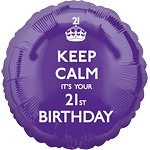 "Keep Calm It's Your 21st Birthday Balloon - 18"" Foil"