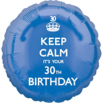 "Keep Calm It's Your 30th Birthday Balloon - 18"" Foil"