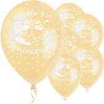 "30th Anniversary Balloons - 12"" Latex"