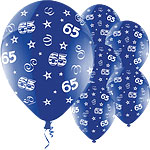 "65th Birthday Perfection Blue Balloons - 11"" Latex"