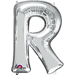 "Silver Letter R Balloon - 34"" Foil"