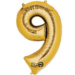 "Gold Number 9 Balloon - 34"" Foil"