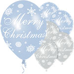 """Merry Christmas"" Blue & Silver Snowflake Balloons - 11"" Latex"