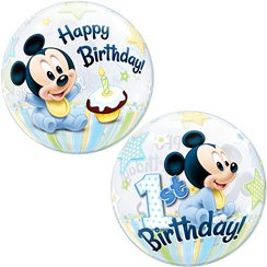 Mickey Mouse 1st Birthday Bubble Balloon - 22""