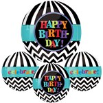 "Dancing Lines Birthday Orbz Balloon - 16""-18"" Foil"