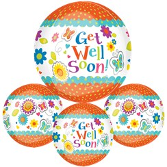 "Get Well Floral Butterfly Orbz Balloon - 25"" Long Lasting"
