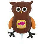 "Brown Owl Balloon on a Stick - 14"" Foil"