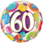 "60th Birthday Big Dots & Glitz Balloon - 18"" Foil"