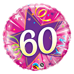 "60th Birthday Pink Shining Star Balloon - 18"" Foil"