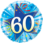 "60th Birthday Blue Shining Star Balloon - 18"" Foil"