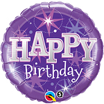 "Happy Birthday Purple Sparkle Balloon - 18"" Foil"