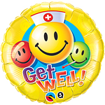 "Get Well! Smiley Colourful Faces Round Balloon - 18"" Foil"