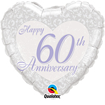 "Happy 60th Anniversary Heart Shaped Silver Balloon - 18"" Foil"