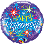 Happy Retirement Colourful Bursts Balloon - 18