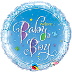 "Welcome Baby Boy Stars Blue Round Balloon - 18"" Foil"