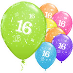 "16th Birthday Assorted Balloons - 11"" Latex"