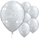 "Little Hearts 25th Anniversary Balloons - 11"" Latex"