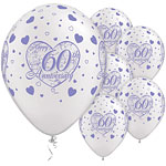"Little Hearts 60th Anniversary Balloons - 11"" Latex"