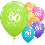 "60th Birthday Multicoloured Balloons - 11"" Latex"