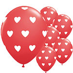 "Big Red Hearts Valentines Balloons - 11"" Latex"