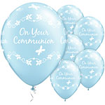"Pearl Light Blue First Holy Communion Butterflies Balloons - 11"" Latex"