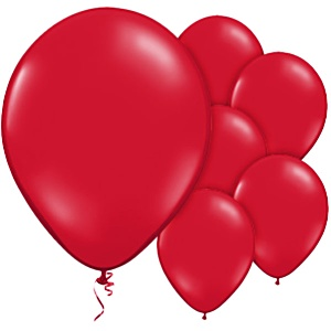 Scarlet Red Plain Balloons - 12