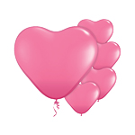 Rose Pink Heart Balloons - 6'' Latex