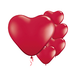 Ruby Red Heart Balloons - 6'' Latex