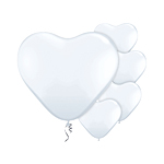White Heart Balloons - 6'' Latex