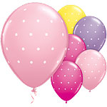 "Small Polka Dot Pink & Purple Balloons - 11"" Latex"