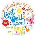 "Get Well Soon Messages Balloon - 18"" Foil"