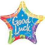 "Good Luck Colourful Star Balloon - 18"" Foil"