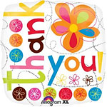 "Thank You Colourful Flowers Balloon - 18"" Foil"
