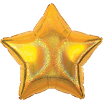 "Gold Dazzler Star Balloon - 19"" Foil - unpackaged"