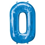 "Blue Number 0 Balloon - 34"" Foil"