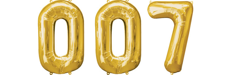 007 Gold Foil Balloons - 34'' - SAVE over 10%