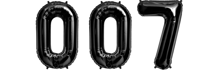 007 Black Foil Balloons - 34'' - SAVE over 10%