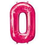 "Pink Number 0 Balloon - 34"" Foil"