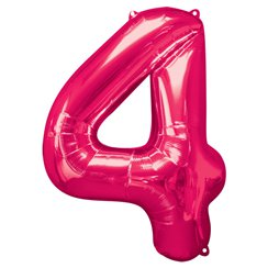 "Pink Number 4 Balloon - 34"" Foil"