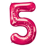 "Pink Number 5 Balloon - 34"" Foil"