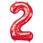 "Red Number 2 Balloon - 34"" Foil"