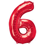 "Red Number 6 Balloon - 34"" Foil"