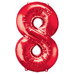 "Red Number 8 Balloon - 34"" Foil"