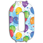 "Streamers Number 0 Giant Balloon - 34"" Foil"