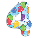 "Streamers Number 4 Giant Balloon - 34"" Foil"