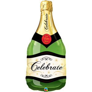 "Celebrate Bubble Wine Bottle Shaped Balloon - 39"" Foil"