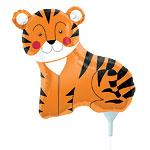 "Teeny Tiger Balloon on a Stick - 14"" Foil"