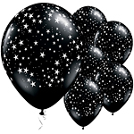 "Onyx Black Stars Balloons - 11"" Latex"