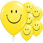 "Yellow Smiley Face Balloons - 11"" Latex"